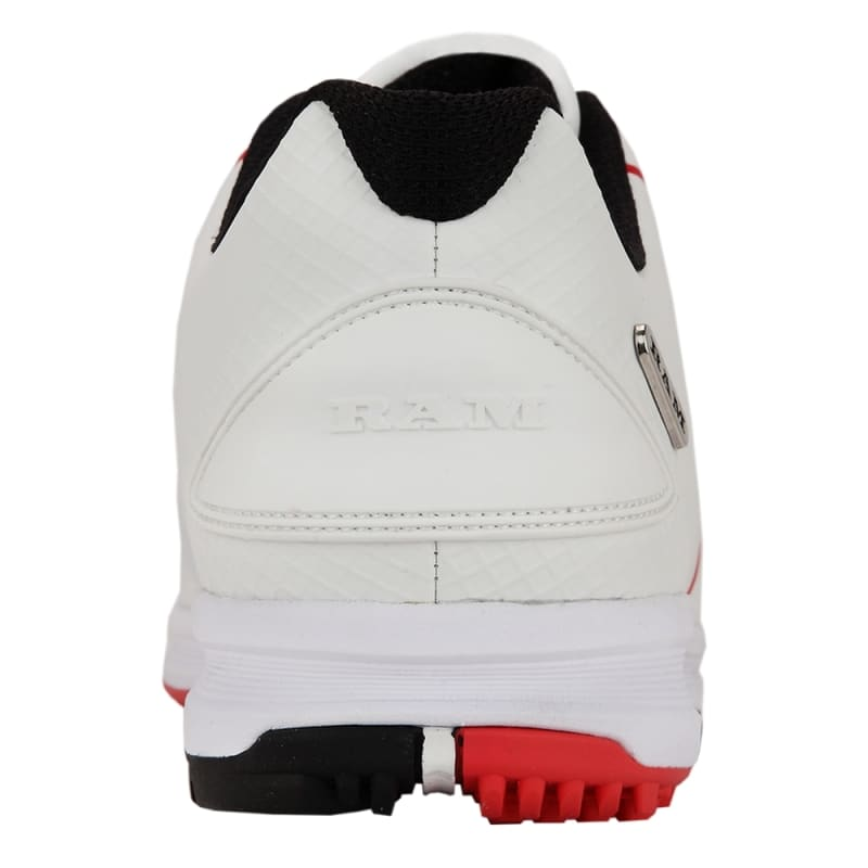 Ram Golf Player Mens Waterproof Golf Shoes - White / Red #3