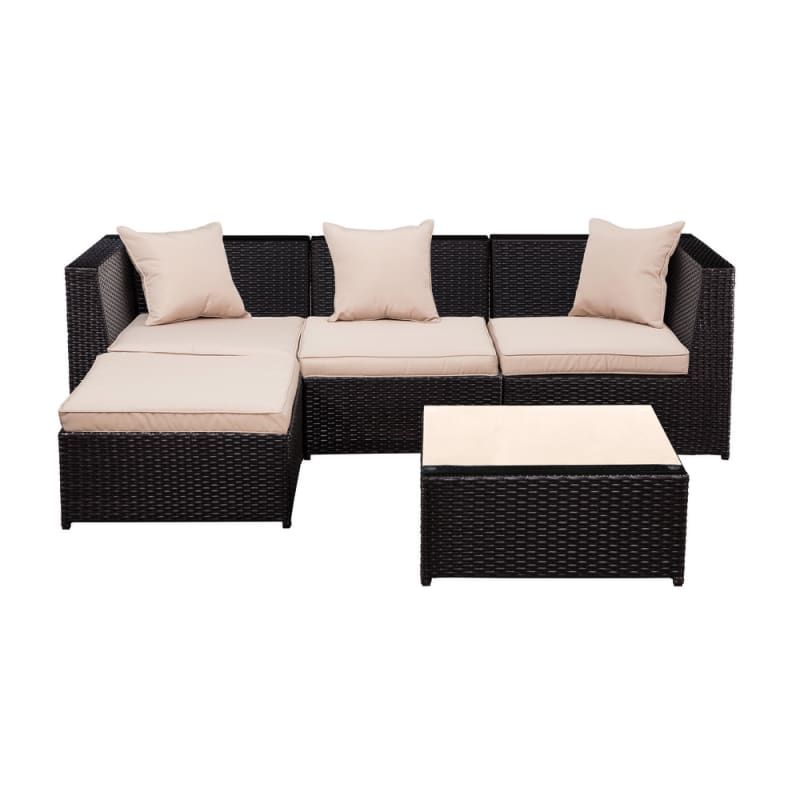 Palm Springs Outdoor 5 pc Furniture Wicker Patio Set w/ Chairs, Table & Cushions - Chocolate #1