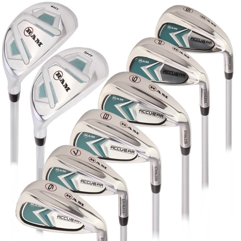 Ram Golf Accubar Lady Clubs Iron Set 6-7-8-9-PW-SW with Hybrids 24° and 27°