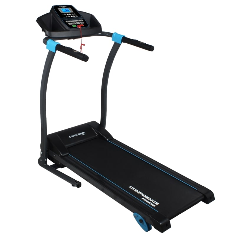 Confidence Fitness TP-3 Folding Electric Treadmill - Motorized Running Machine with Manual Incline, LCD and Phone/Tablet Holder #