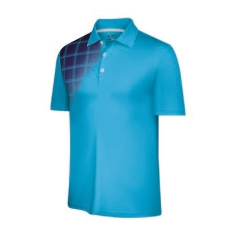 Adidas Mens ClimaCool Plaid Fade Polo Aqua