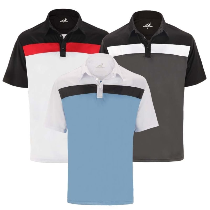 bc966a5c Woodworm Golf Shirts - 3 Pack - Tour Panel Polos - Mens