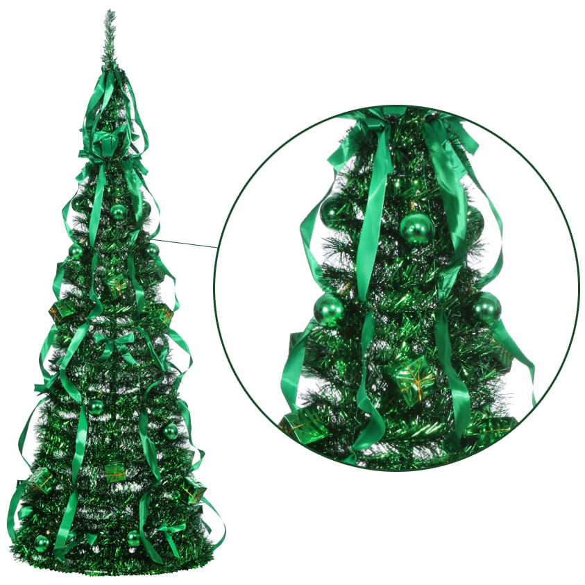 Homegear 5ft Artificial Tinsel Decorated Collapsible Christmas Tree Green