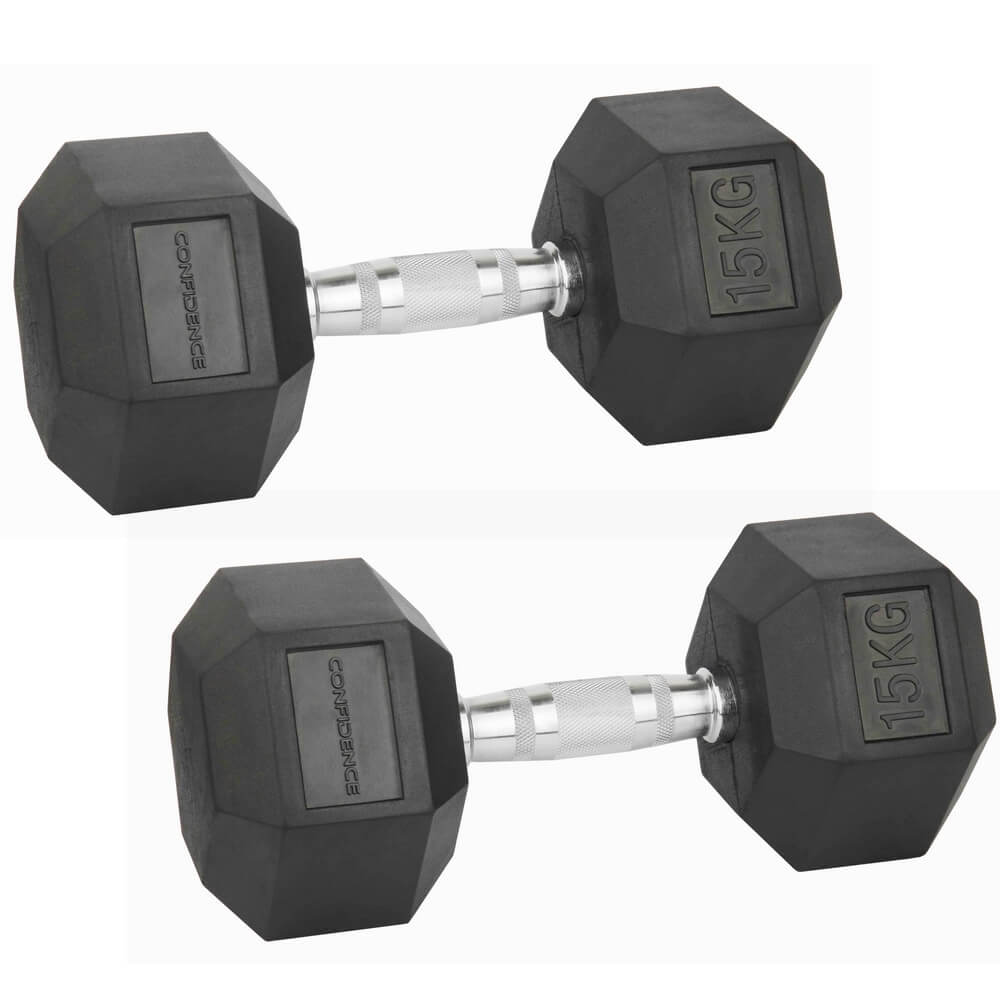 Confidence Fitness 15kg Rubber Hex Dumbbell Set The