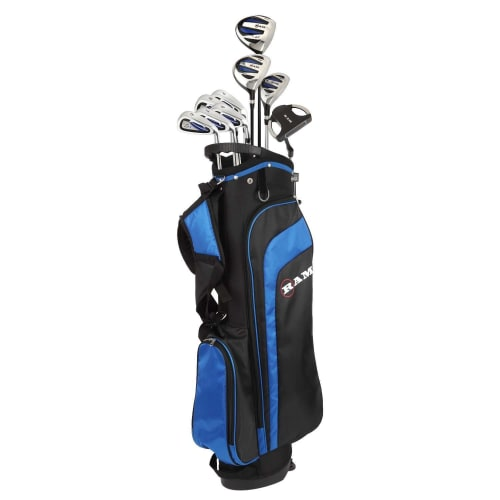 "Ram Golf EZ3 Mens Tall +1"" Golf Clubs Set with Stand Bag - Graphite/Steel Shafts"