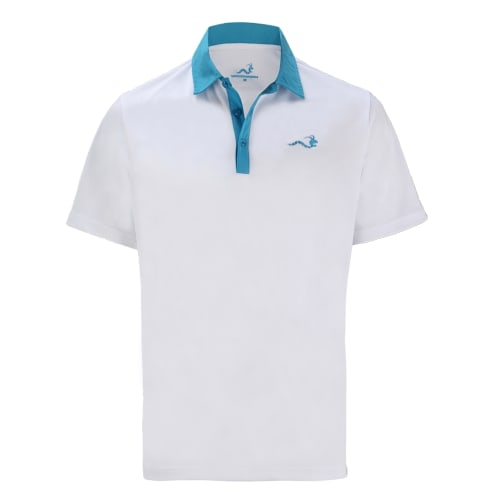 Woodworm Solid Tech Golf Polo Shirts - White/Blue