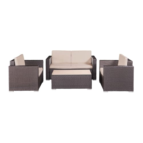 Palm Springs Modern 4 Piece Furniture Wicker Patio Set