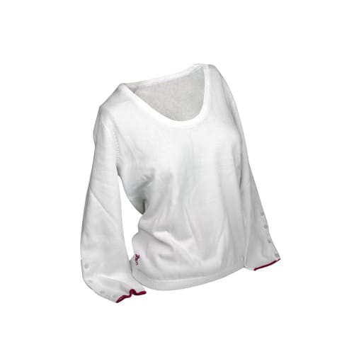 Ashworth Ladies Round Neck Sweater Buttoned Sleeves