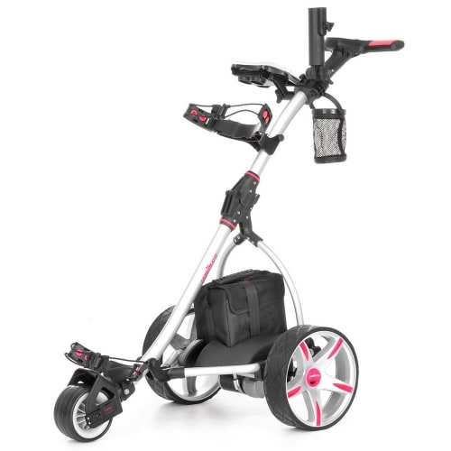 Caddymatic V2 Electric Golf Trolley / Cart With 18 Hole battery With Auto-Distance Functionality Silver