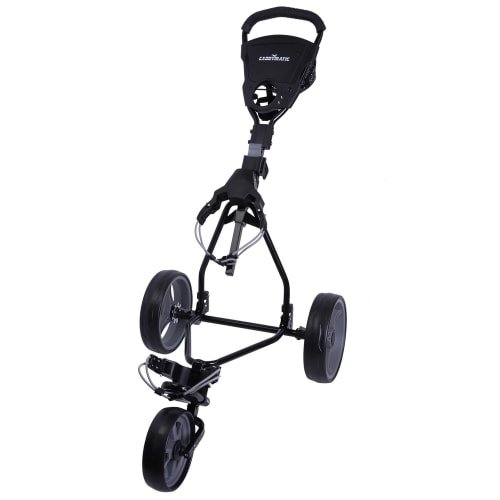 Caddymatic Junior Golf Trolley - 3 Wheel Folding Trolley for Kids- Black/Grey