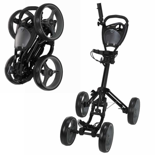 OPEN BOX Caddymatic Golf Quad 4-Wheel Folding Golf Pull / Push Cart Black