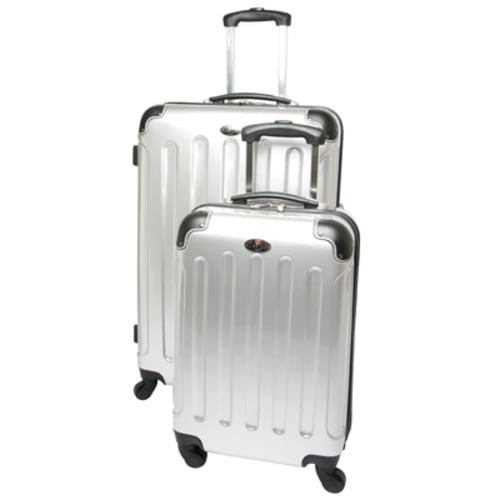 "Swiss Case 28"" SILVER 2 pc Spinner Suitcase Set"