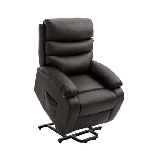 Homegear PU Leather Power Lift Electric Recliner Chair with Massage, Heat and Vibration with Remote - Brown