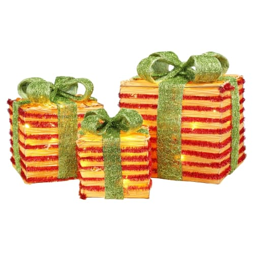 Homegear Christmas Set of 3 Pre-lit Gift Present Boxes with 60 LED Lights - Indoor or Outdoor Yard/Lawn Use - Wicker Green Bow