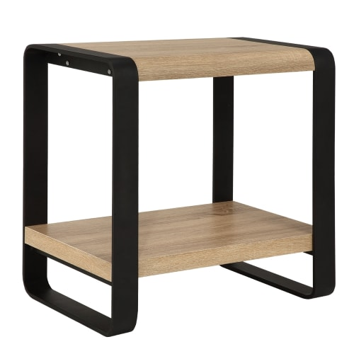 Homegear Oak Living Room Furniture Side / End Table with Iron Frame