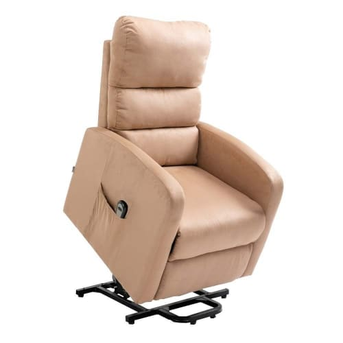 Homegear Microfibre Power Lift Riser Recliner Chair with Electric Recline and Remote - Taupe