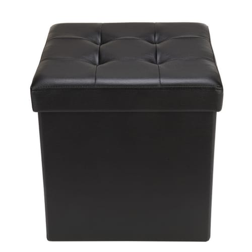 "Homegear 15"" Folding Storage Ottoman / Footstool Black"