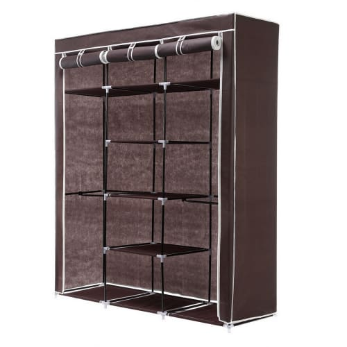 Homegear Triple Fabric Wardrobe Dark Brown