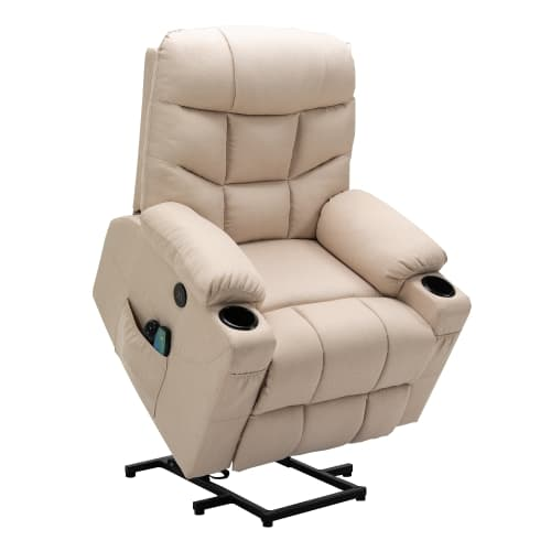 Homegear Fabric Power Lift Electric Recliner Chair w/ Massage, Taupe
