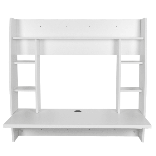 Homgear Office Floating Wall-Mounted Work Desk / Computer Workstation with Shelves, White