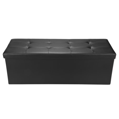 "Homegear 43.3"" Folding Storage Ottoman / Footstool Black"