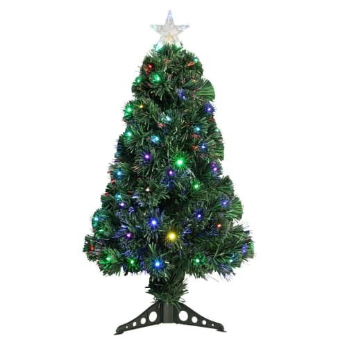 Homegear 3ft Fiber Optic Artificial Christmas Tree with Plastic Stand - Prelit with 95 Multi LED Lights and Fibre Optic