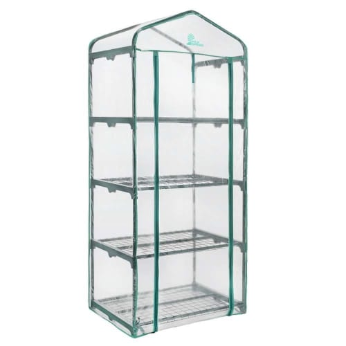 Palm Springs 4-Tier Mini Greenhouse with Cover and Roll-up Zipper Door