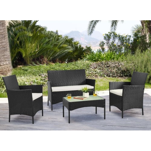 Palm Springs Deluxe 4Pc Rattan Sofa Chair and Table Set - Black