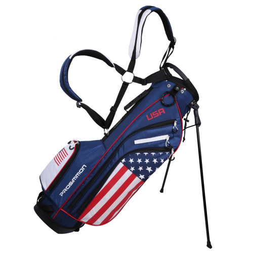 "Prosimmon Golf DRK 7"" Lightweight Golf Stand Bag with Dual Straps USA Flag"