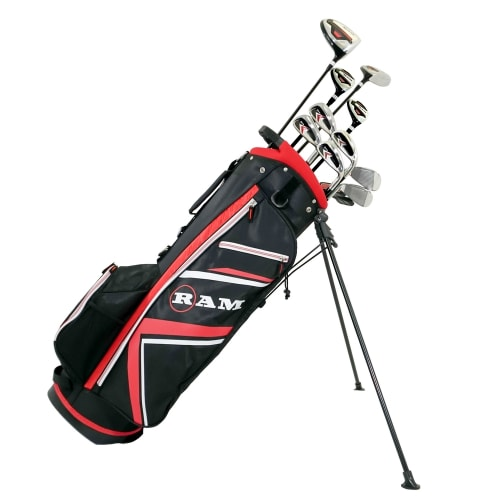 Ram Golf Accubar 16pc 1 Inch Longer Golf Clubs Set - Graphite Shafted Woods, Steel Shafted Irons - Mens Right Hand - Stiff Flex