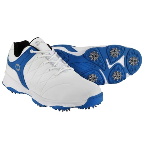 Ram Golf FX Tour Mens Waterproof Golf Shoes - White / Blue