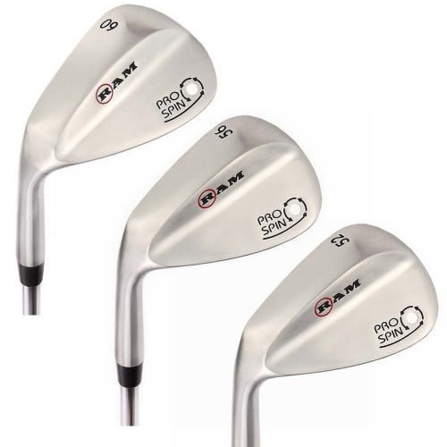 OPEN BOX Ram Golf Pro Spin 3 Wedge Set - 52° Gap, 56° Sand, 60° Lob Wedges - Mens Left Hand