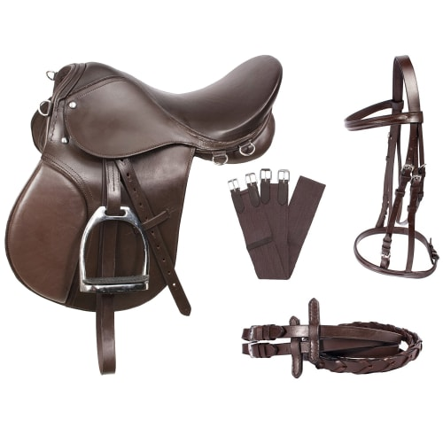 Barnsby Equestrian Starter Tack Set with Saddle, Stirrups, Bridle, Reins, Girth