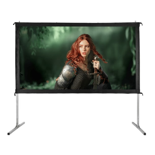 """OPEN BOX Homegear Fast Fold Portable 100"""" Projector Screen 16:9 HD for Indoor/Outdoor Use"""