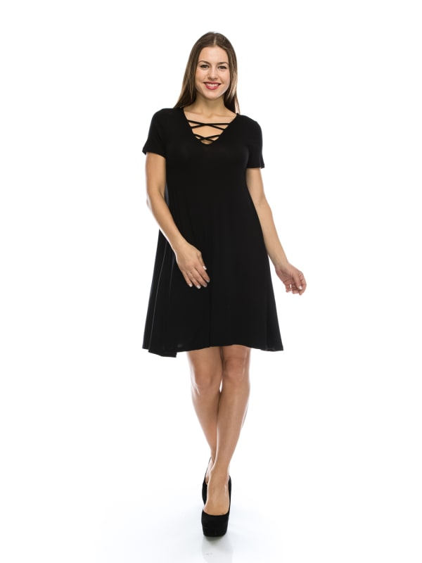 Flowy Tunic Shift Dress w/ V-Neck Short Sleeve with CrissCross Fashion Strap - MADE IN USA -  All Sizes + Colors