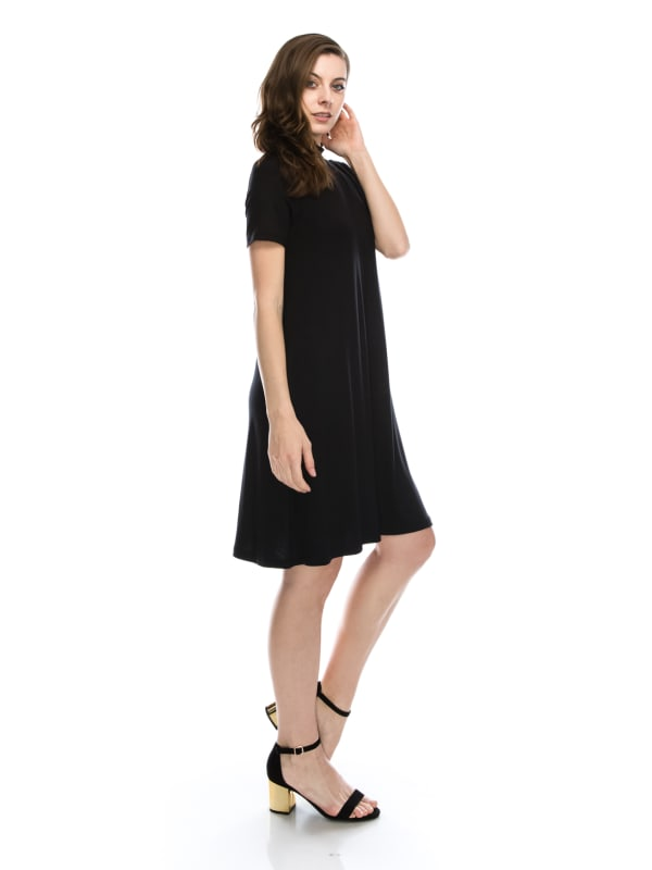 Plus Size Mock High Neck Solid Casual Tunic Flowy Dress Short Sleeve - MADE IN USA - All Sizes + Colors