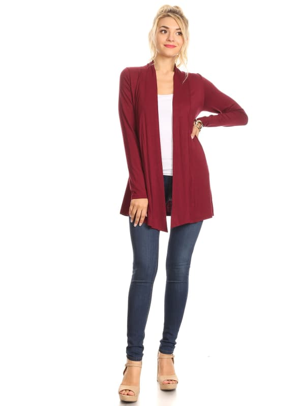 Long Sleeve Open Front Draped Short Sweater Cardigan - Made in USA - All Sizes + Colors