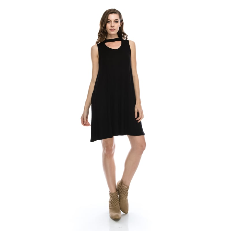 Peekaboo Mock Neck Tunic Shirt Dress Long Fashion Sleeveless Swing Top - MADE IN USA -  All Sizes + Colors