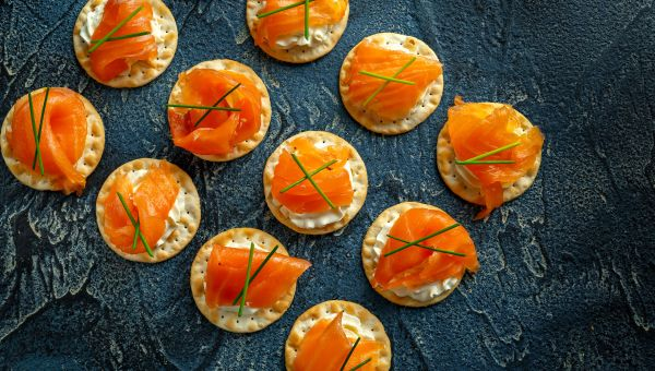 75. Lox and cream cheese crackers