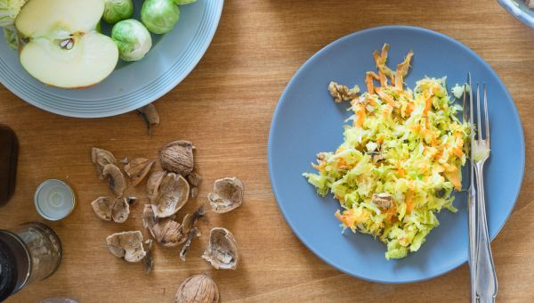 Warm Brussels sprout slaw