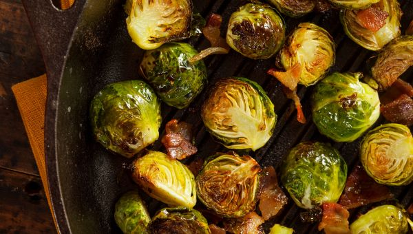 Brussels Sprouts With Bacon and Sunflower Seeds