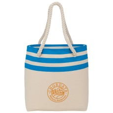Capri Stripe Junior 8 oz. Cotton Canvas Rope Tote