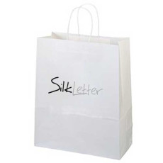 Imprinted White Kraft Paper Shopping Bag
