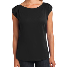 District Made Ladies Modal Blend Gathered Shoulder Tee