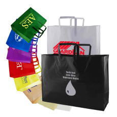 Printed Frosted Tri-fold Handle Shopping Bags