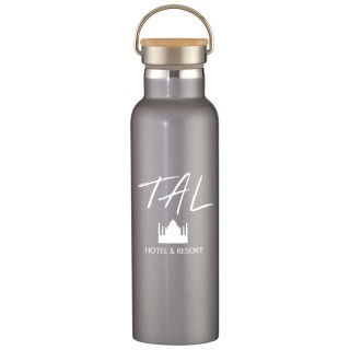 21 oz. Liberty Double Wall Insulated Stainless Steel Water Bottle With Wood Lid