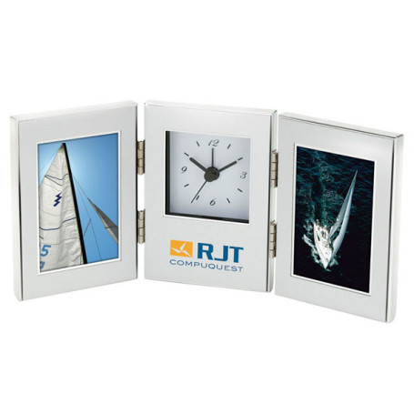 "Engraved 2 - 2"" x 3"" Frames and Clock"