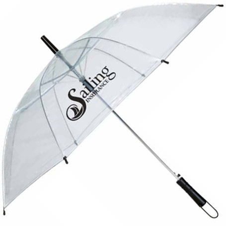 "Logo 46"" Arc Clear Umbrella"