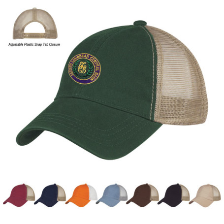 Customizable Washed Cotton Mesh Back Cap