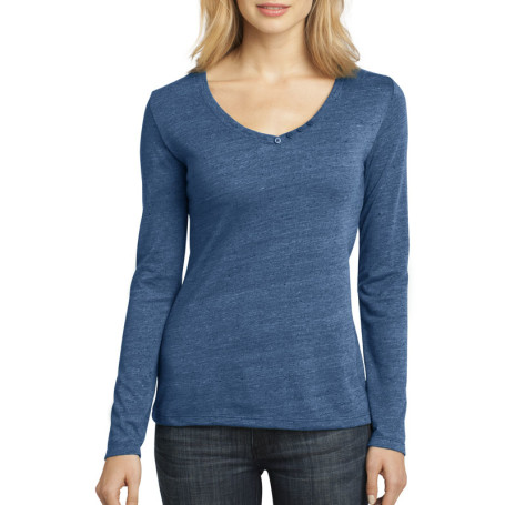 District Made - Ladies Textured Long Sleeve V-Neck with Button Detail